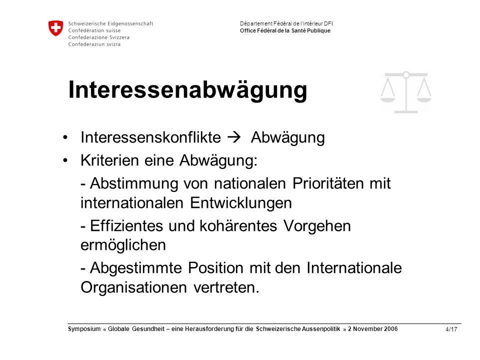 4/17 Symposium « Globale Gesundheit – eine Herausforderung für die Schweizerische Aussenpolitik » 2 November 2006 Département Fédéral de l'intérieur DFI Office Fédéral de la Santé Publique Interessenabwägung Interessenskonflikte  Abwägung Kriterien eine Abwägung: - Abstimmung von nationalen Prioritäten mit internationalen Entwicklungen - Effizientes und kohärentes Vorgehen ermöglichen - Abgestimmte Position mit den Internationale Organisationen vertreten.