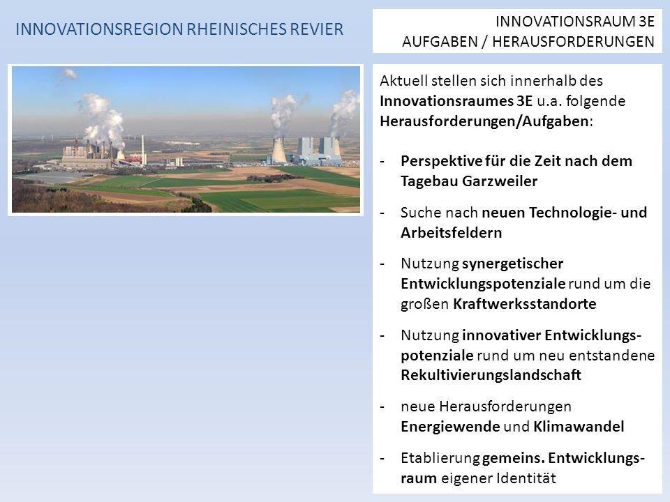 Aktuell stellen sich innerhalb des Innovationsraumes 3E u.a.