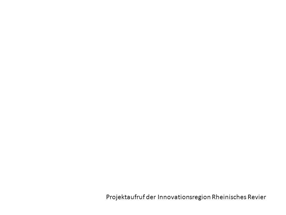 -Innovationsregion Rheinisches Revier ist angetreten zu einer Modellregion für die Energiewende und den Klimaschutz zu werden, auf Basis der im Rheinischen Revier gegebenen wirtschaftlichen, technologischen und infrastrukturellen Stärken -aktueller Projektaufruf/Ideenwettbewerb: Suche nach Projektvorschlägen und –ideen, um den präventiven Wandel mit vorbildhaften, zukunftsweisenden Projekten für die Region sichtbar zu machen  bereits realisierte best practice-Projekte (Wandel HEUTE sichtbar machen)  f.