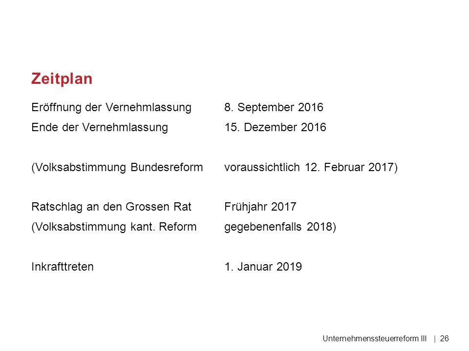 Eröffnung der Vernehmlassung 8. September 2016 Ende der Vernehmlassung 15. Dezember 2016 (Volksabstimmung Bundesreformvoraussichtlich 12. Februar 2017