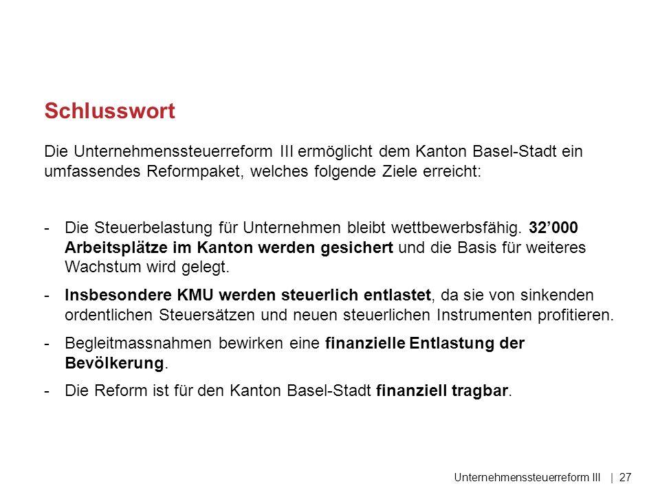 Die Unternehmenssteuerreform III ermöglicht dem Kanton Basel-Stadt ein umfassendes Reformpaket, welches folgende Ziele erreicht: -Die Steuerbelastung für Unternehmen bleibt wettbewerbsfähig.