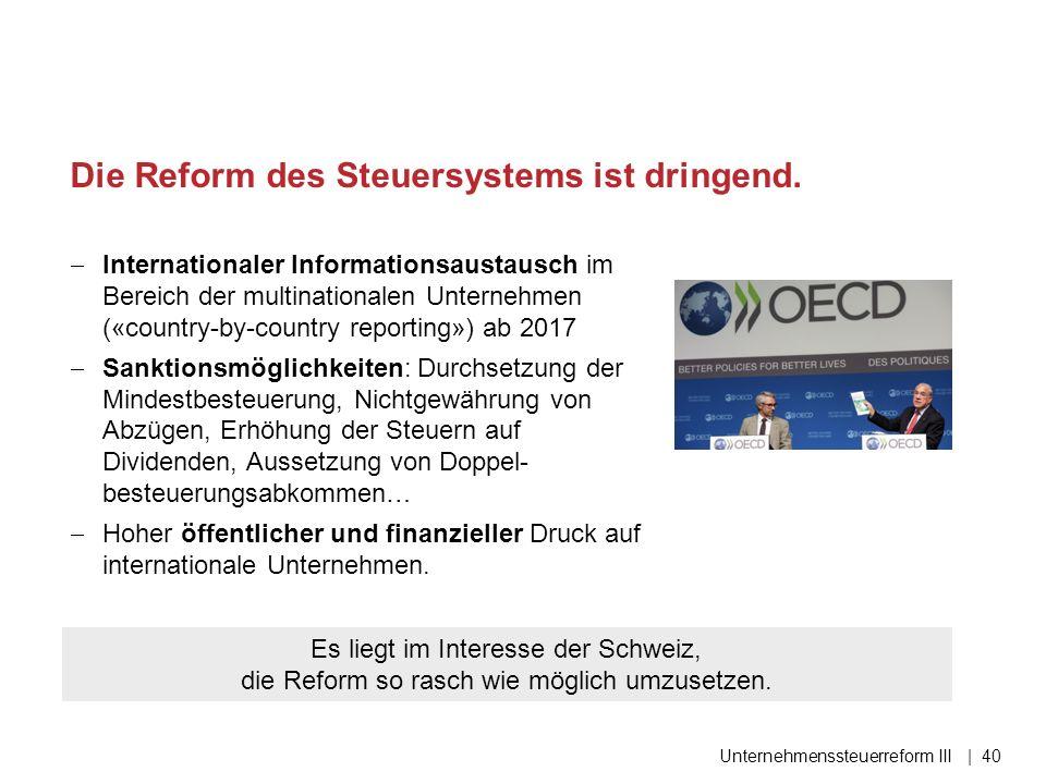 Die Reform des Steuersystems ist dringend.  Internationaler Informationsaustausch im Bereich der multinationalen Unternehmen («country-by-country rep