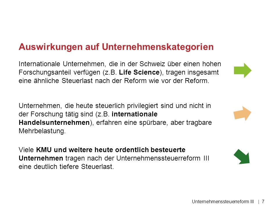 Internationale Unternehmen, die in der Schweiz über einen hohen Forschungsanteil verfügen (z.B. Life Science), tragen insgesamt eine ähnliche Steuerla