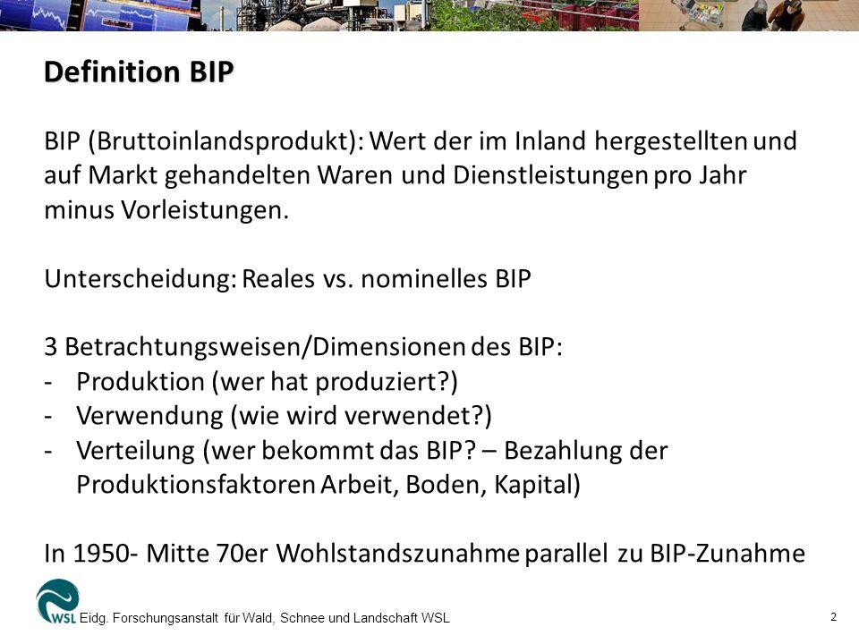 Definition BIP Eidg. Forschungsanstalt für Wald, Schnee und Landschaft WSL 2 BIP (Bruttoinlandsprodukt): Wert der im Inland hergestellten und auf Mark