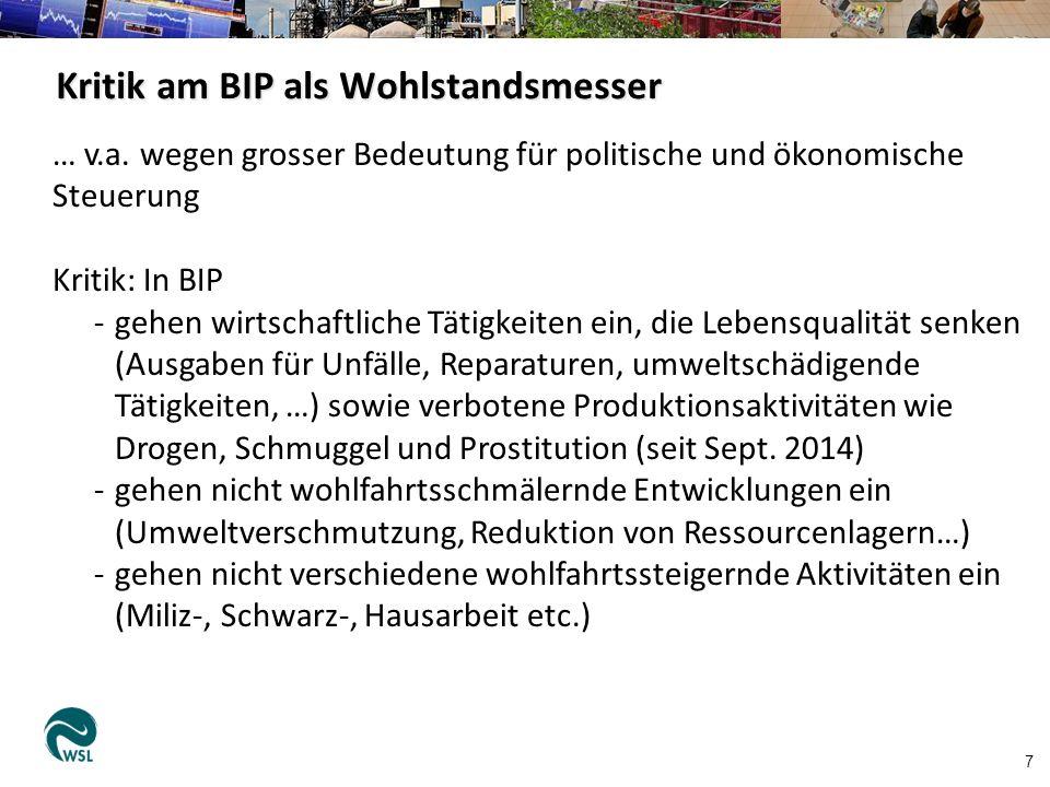 Kritik am BIP als Wohlstandsmesser 7 … v.a.