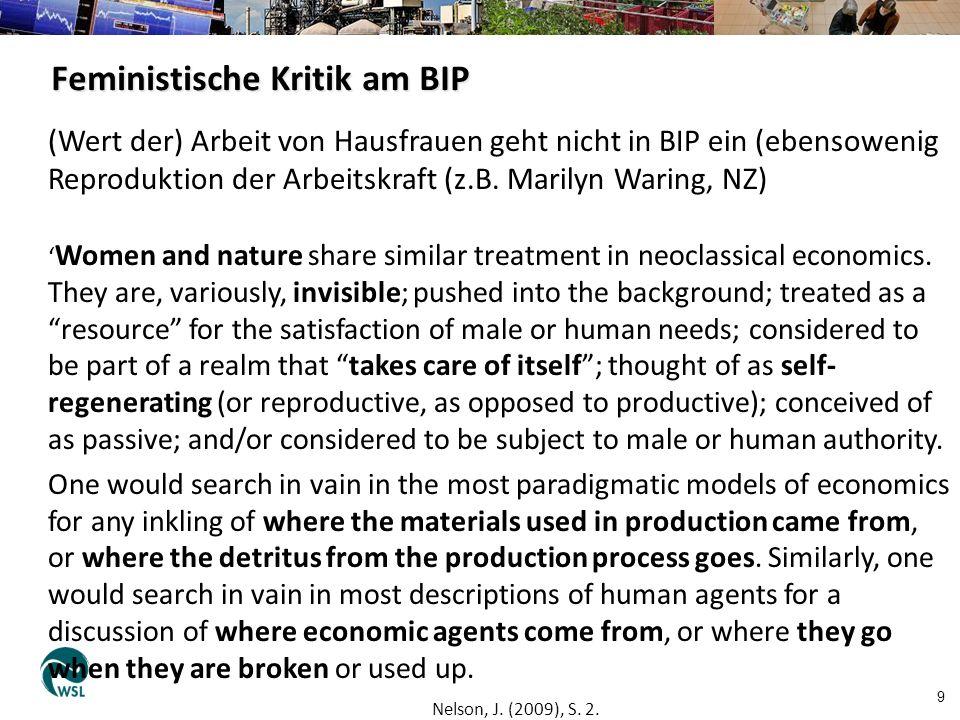 Feministische Kritik am BIP 9 (Wert der) Arbeit von Hausfrauen geht nicht in BIP ein (ebensowenig Reproduktion der Arbeitskraft (z.B. Marilyn Waring,