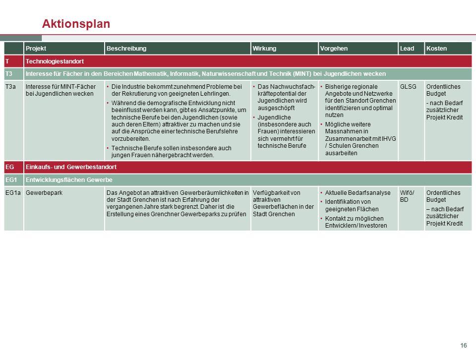 16 Aktionsplan ProjektBeschreibungWirkungVorgehenLeadKosten TTechnologiestandort T3Interesse für Fächer in den Bereichen Mathematik, Informatik, Natur