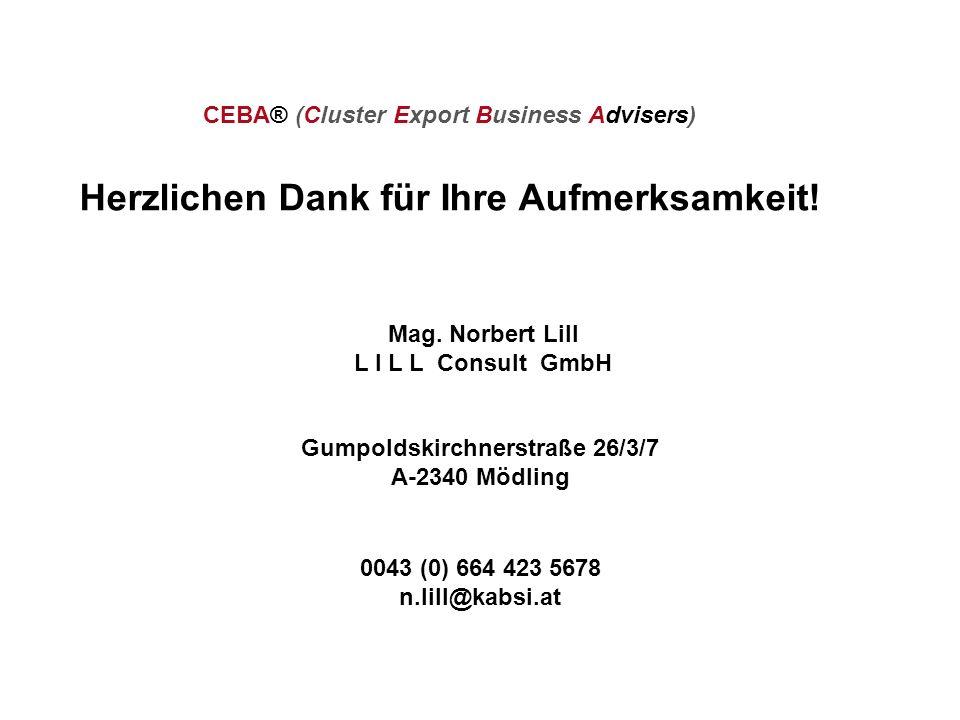 Mag. Norbert Lill L I L L Consult GmbH Gumpoldskirchnerstraße 26/3/7 A-2340 Mödling 0043 (0) 664 423 5678 n.lill@kabsi.at CEBA® (Cluster Export Busine