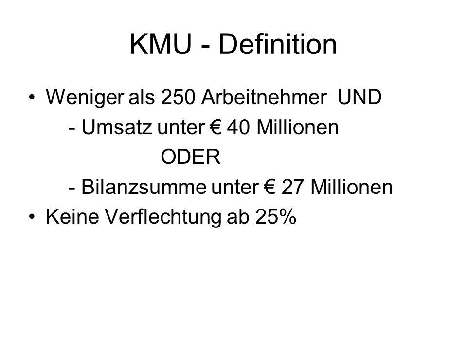 KMU - Definition Weniger als 250 Arbeitnehmer UND - Umsatz unter € 40 Millionen ODER - Bilanzsumme unter € 27 Millionen Keine Verflechtung ab 25%