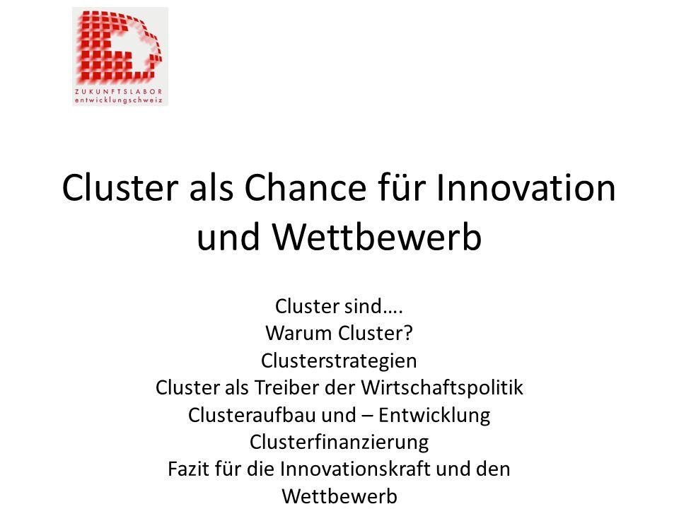 Cluster als Chance für Innovation und Wettbewerb Cluster sind…. Warum Cluster? Clusterstrategien Cluster als Treiber der Wirtschaftspolitik Clusterauf