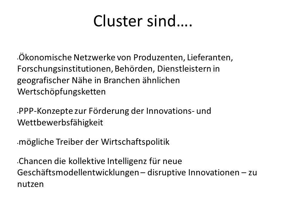 Cluster sind…. Ökonomische Netzwerke von Produzenten, Lieferanten, Forschungsinstitutionen, Behörden, Dienstleistern in geografischer Nähe in Branchen