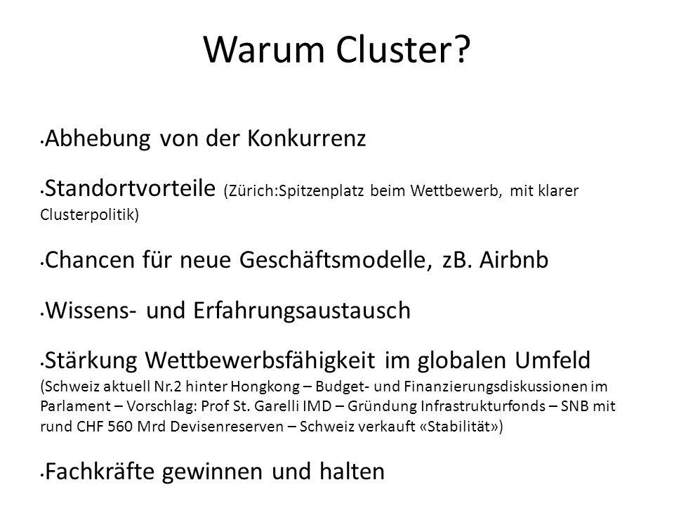 Warum Cluster? Abhebung von der Konkurrenz Standortvorteile (Zürich:Spitzenplatz beim Wettbewerb, mit klarer Clusterpolitik) Chancen für neue Geschäft