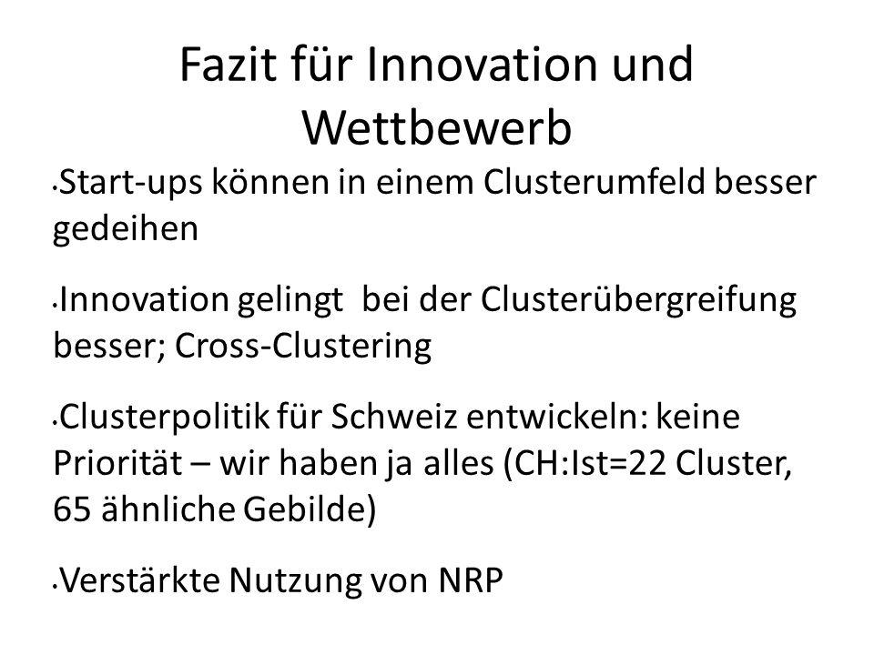 Fazit für Innovation und Wettbewerb Start-ups können in einem Clusterumfeld besser gedeihen Innovation gelingt bei der Clusterübergreifung besser; Cro