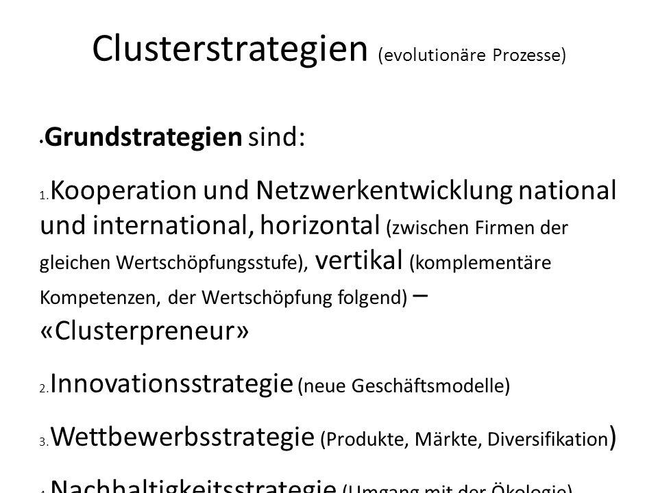 Clusterstrategien (evolutionäre Prozesse) Grundstrategien sind: 1. Kooperation und Netzwerkentwicklung national und international, horizontal (zwische