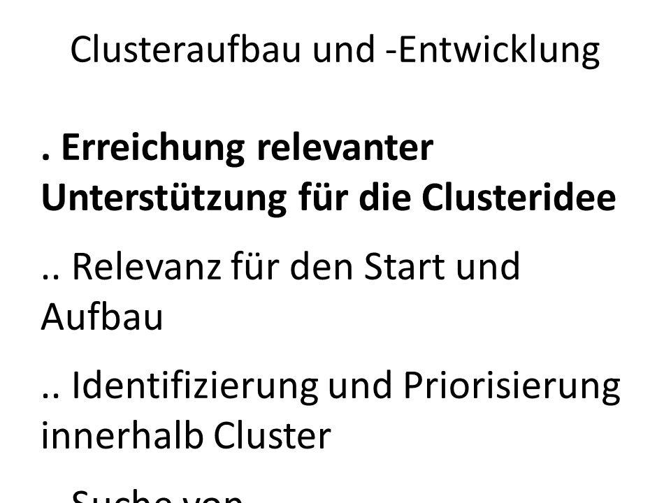 Clusteraufbau und -Entwicklung. Erreichung relevanter Unterstützung für die Clusteridee.. Relevanz für den Start und Aufbau.. Identifizierung und Prio