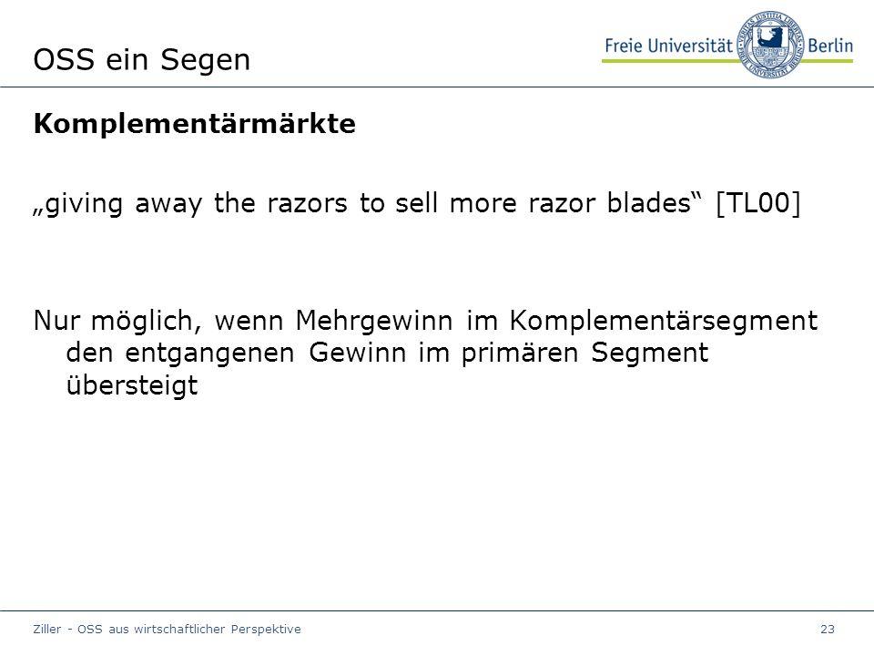 """Ziller - OSS aus wirtschaftlicher Perspektive23 OSS ein Segen Komplementärmärkte """"giving away the razors to sell more razor blades [TL00] Nur möglich, wenn Mehrgewinn im Komplementärsegment den entgangenen Gewinn im primären Segment übersteigt"""