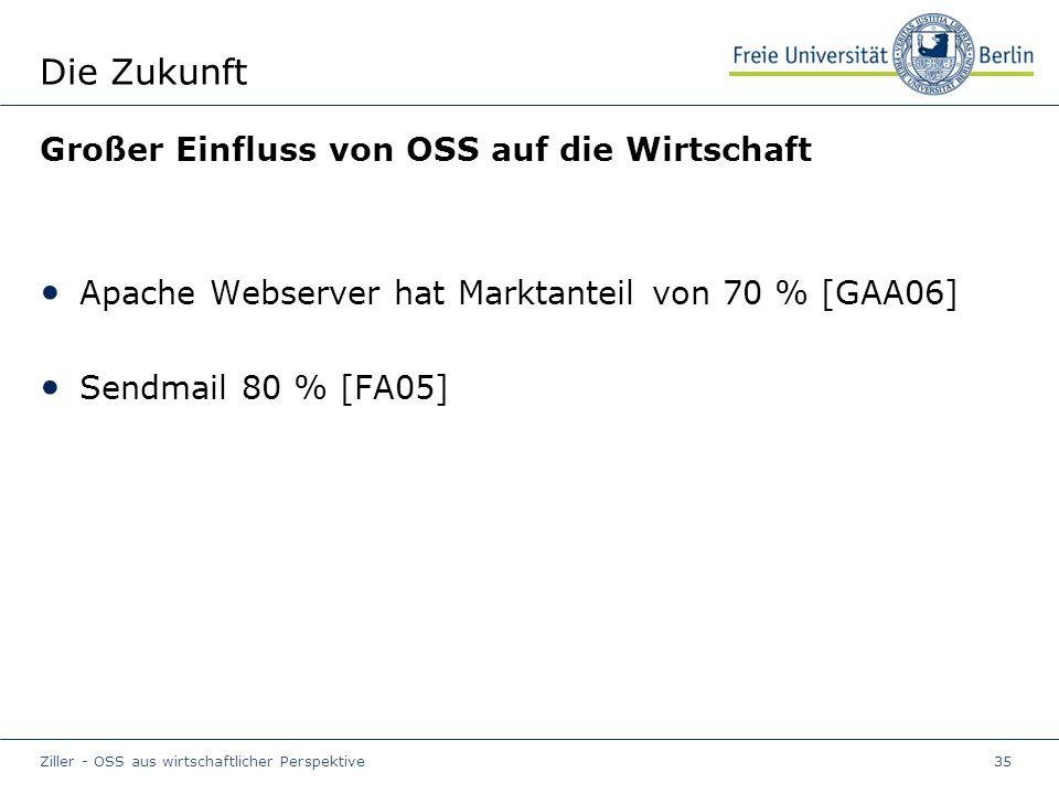 Ziller - OSS aus wirtschaftlicher Perspektive35 Die Zukunft Großer Einfluss von OSS auf die Wirtschaft Apache Webserver hat Marktanteil von 70 % [GAA06] Sendmail 80 % [FA05]