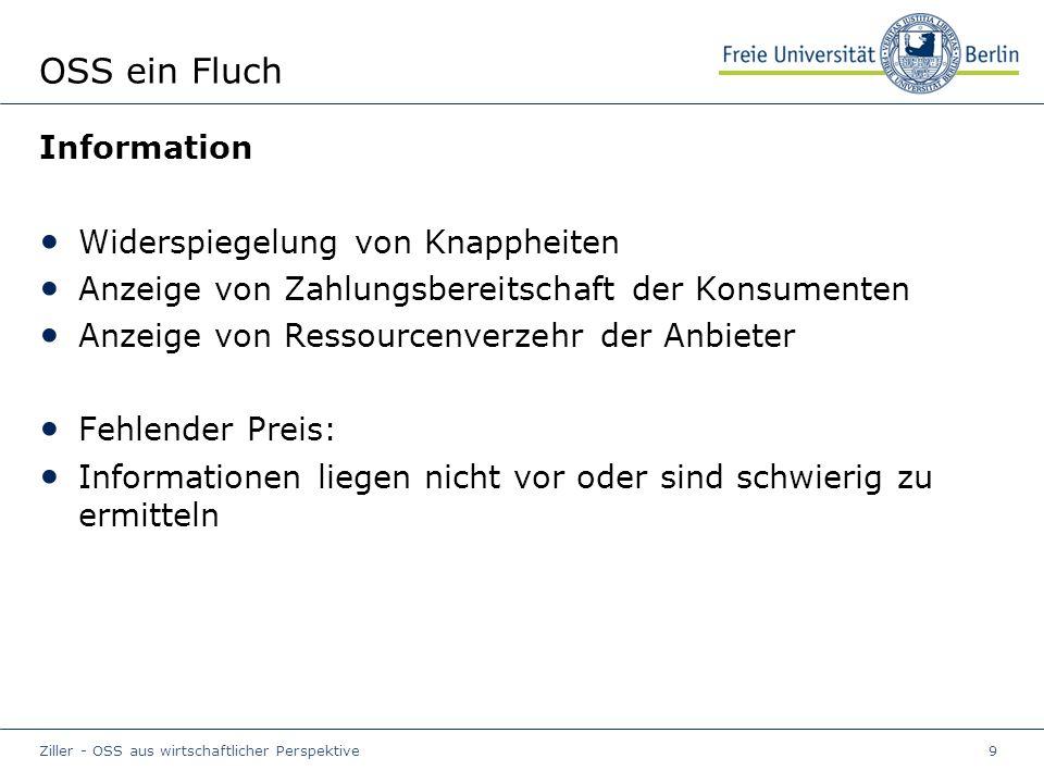 Ziller - OSS aus wirtschaftlicher Perspektive9 OSS ein Fluch Information Widerspiegelung von Knappheiten Anzeige von Zahlungsbereitschaft der Konsumenten Anzeige von Ressourcenverzehr der Anbieter Fehlender Preis: Informationen liegen nicht vor oder sind schwierig zu ermitteln