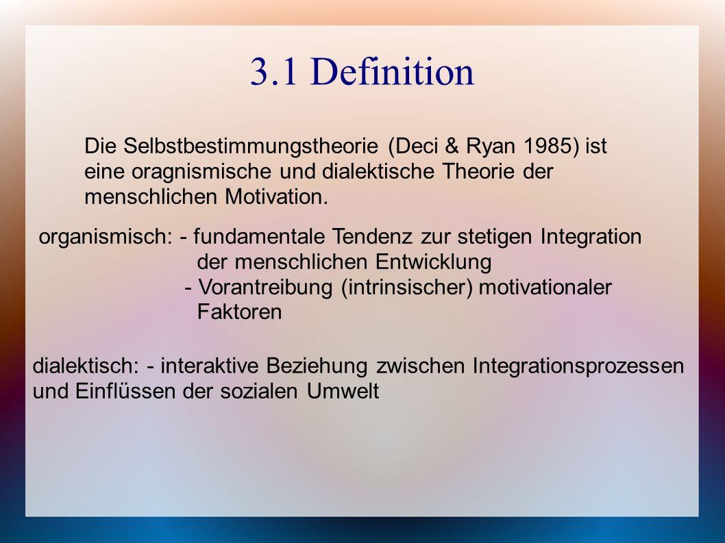 3.1 Definition Die Selbstbestimmungstheorie (Deci & Ryan 1985) ist eine oragnismische und dialektische Theorie der menschlichen Motivation.
