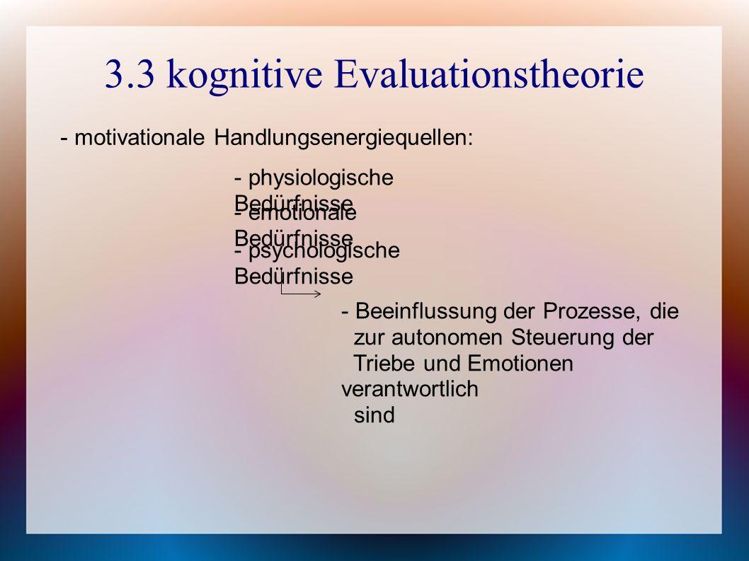 3.3 kognitive Evaluationstheorie - motivationale Handlungsenergiequellen: - physiologische Bedürfnisse - emotionale Bedürfnisse - psychologische Bedürfnisse - Beeinflussung der Prozesse, die zur autonomen Steuerung der Triebe und Emotionen verantwortlich sind