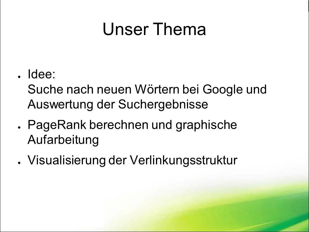 Unser Thema ● Idee: Suche nach neuen Wörtern bei Google und Auswertung der Suchergebnisse ● PageRank berechnen und graphische Aufarbeitung ● Visualisierung der Verlinkungsstruktur