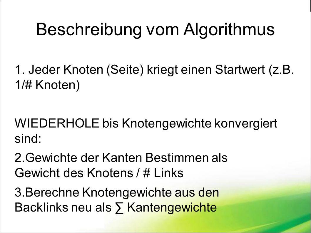 Beschreibung vom Algorithmus 1. Jeder Knoten (Seite) kriegt einen Startwert (z.B.