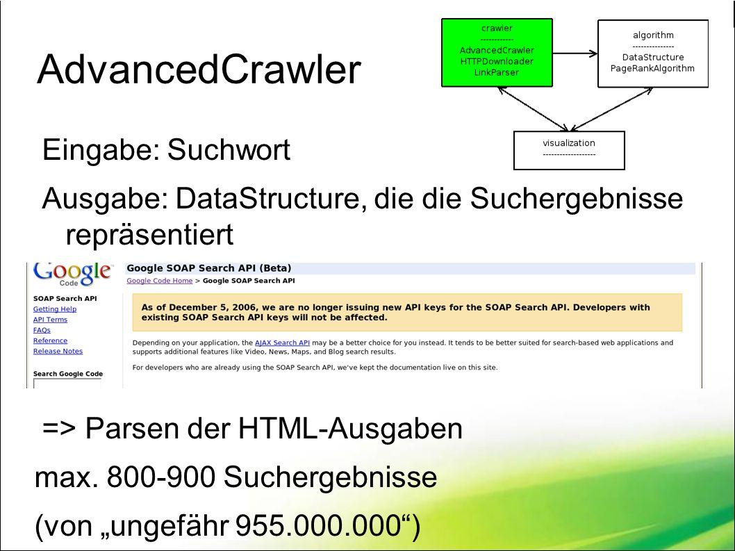AdvancedCrawler Eingabe: Suchwort Ausgabe: DataStructure, die die Suchergebnisse repräsentiert => Parsen der HTML-Ausgaben max.