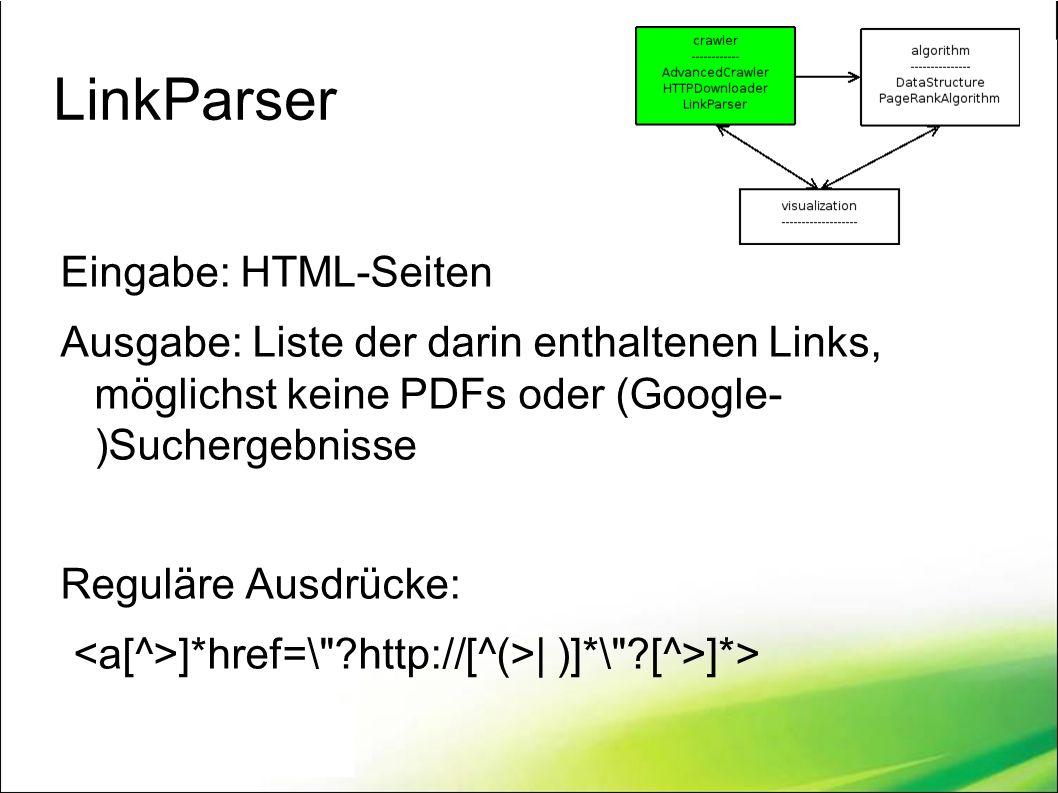 LinkParser Eingabe: HTML-Seiten Ausgabe: Liste der darin enthaltenen Links, möglichst keine PDFs oder (Google- )Suchergebnisse Reguläre Ausdrücke: ]*href=\ ?http://[^(>| )]*\ ?[^>]*>