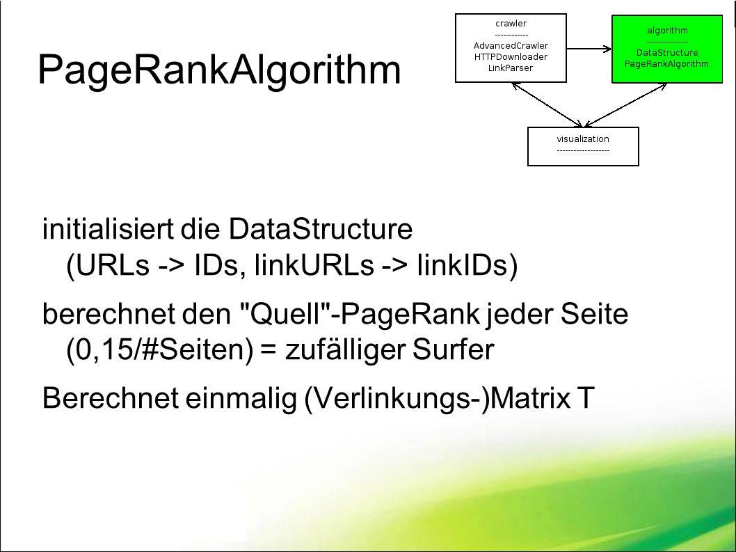 PageRankAlgorithm initialisiert die DataStructure (URLs -> IDs, linkURLs -> linkIDs) berechnet den Quell -PageRank jeder Seite (0,15/#Seiten) = zufälliger Surfer Berechnet einmalig (Verlinkungs-)Matrix T