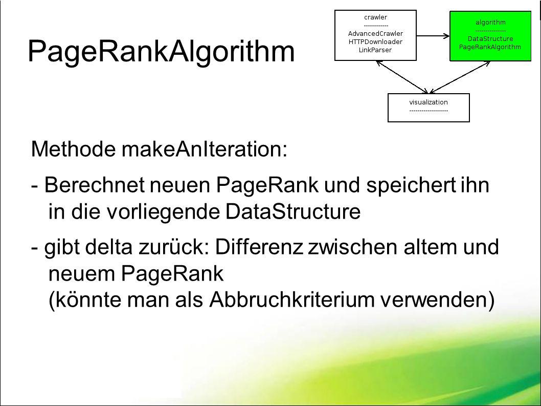 PageRankAlgorithm Methode makeAnIteration: - Berechnet neuen PageRank und speichert ihn in die vorliegende DataStructure - gibt delta zurück: Differenz zwischen altem und neuem PageRank (könnte man als Abbruchkriterium verwenden)