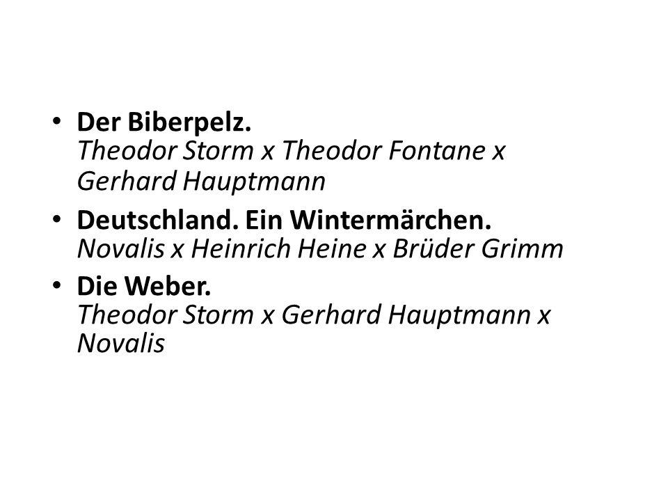 Der Biberpelz. Theodor Storm x Theodor Fontane x Gerhard Hauptmann Deutschland.