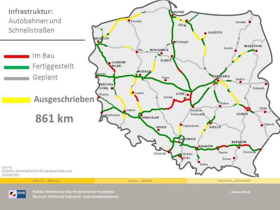 Infrastruktur: Autobahnen und Schnellstraßen Quelle: GDDKiA (Generaldirektion für Landesstraßen und Autobahnen) Im Bau Fertiggestellt Ausgeschrieben G