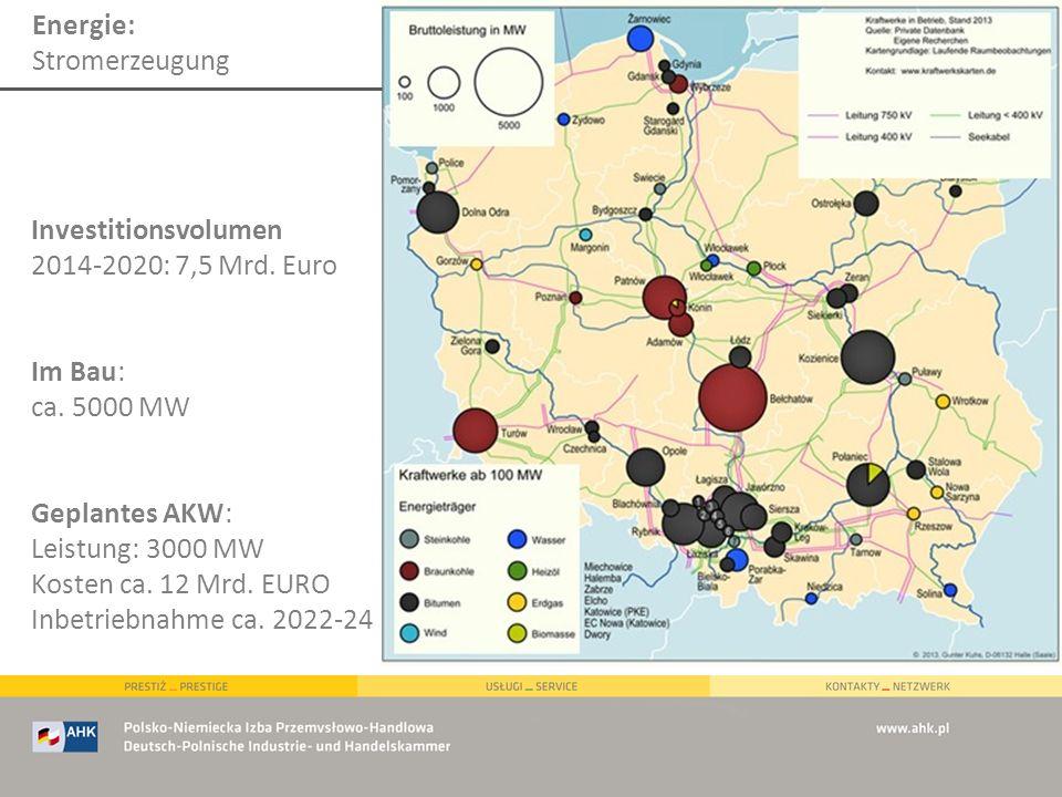 Energie: Stromerzeugung Investitionsvolumen 2014-2020: 7,5 Mrd. Euro Im Bau: ca. 5000 MW Geplantes AKW: Leistung: 3000 MW Kosten ca. 12 Mrd. EURO Inbe