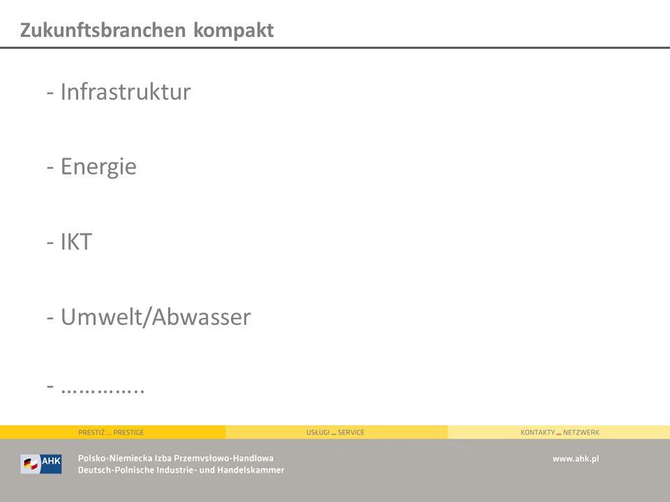 - Infrastruktur - Energie - IKT - Umwelt/Abwasser - ………….. Zukunftsbranchen kompakt