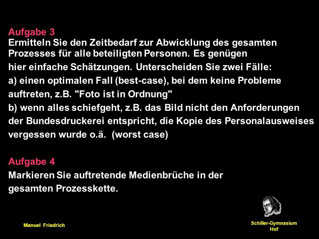 Manuel Friedrich Schiller-Gymnasium Hof Aufgabe 3 Ermitteln Sie den Zeitbedarf zur Abwicklung des gesamten Prozesses für alle beteiligten Personen. Es