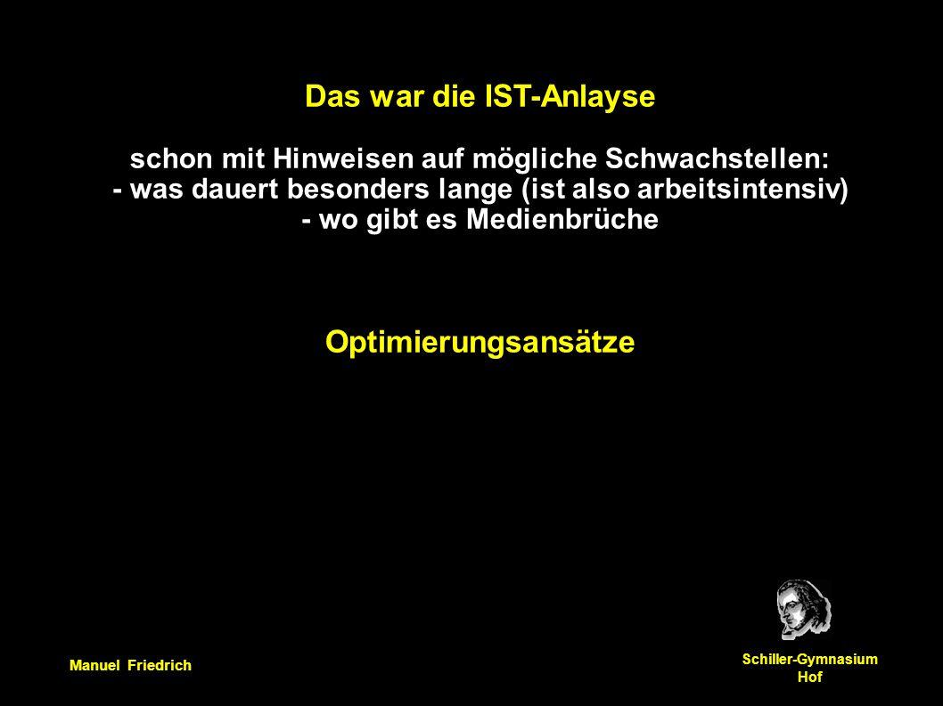 Manuel Friedrich Schiller-Gymnasium Hof Das war die IST-Anlayse schon mit Hinweisen auf mögliche Schwachstellen: - was dauert besonders lange (ist also arbeitsintensiv) - wo gibt es Medienbrüche Optimierungsansätze