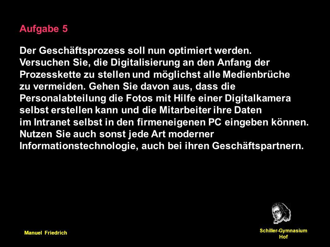 Manuel Friedrich Schiller-Gymnasium Hof Aufgabe 5 Der Geschäftsprozess soll nun optimiert werden. Versuchen Sie, die Digitalisierung an den Anfang der