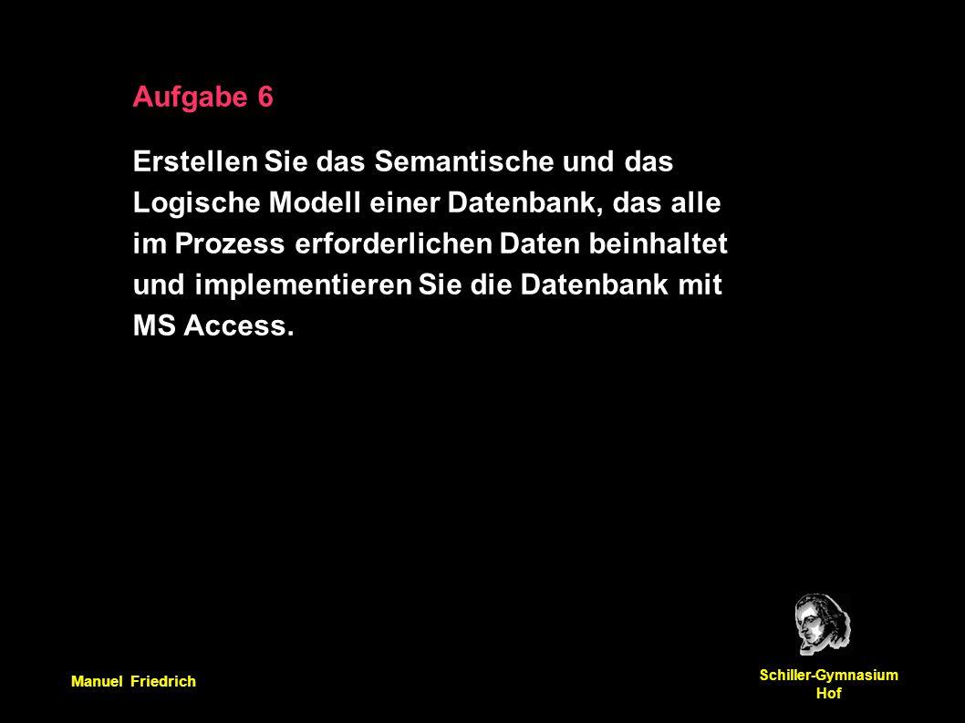 Manuel Friedrich Schiller-Gymnasium Hof Aufgabe 6 Erstellen Sie das Semantische und das Logische Modell einer Datenbank, das alle im Prozess erforderlichen Daten beinhaltet und implementieren Sie die Datenbank mit MS Access.