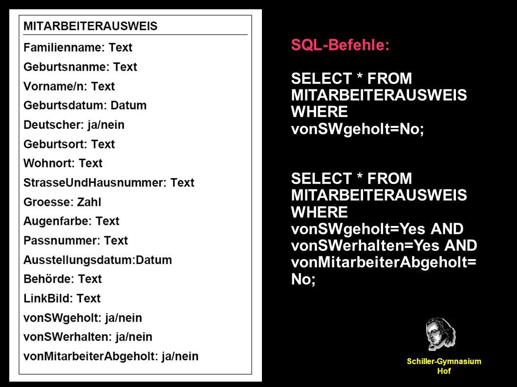 Manuel Friedrich Schiller-Gymnasium Hof SQL-Befehle: SELECT * FROM MITARBEITERAUSWEIS WHERE vonSWgeholt=No; SELECT * FROM MITARBEITERAUSWEIS WHERE vonSWgeholt=Yes AND vonSWerhalten=Yes AND vonMitarbeiterAbgeholt= No;
