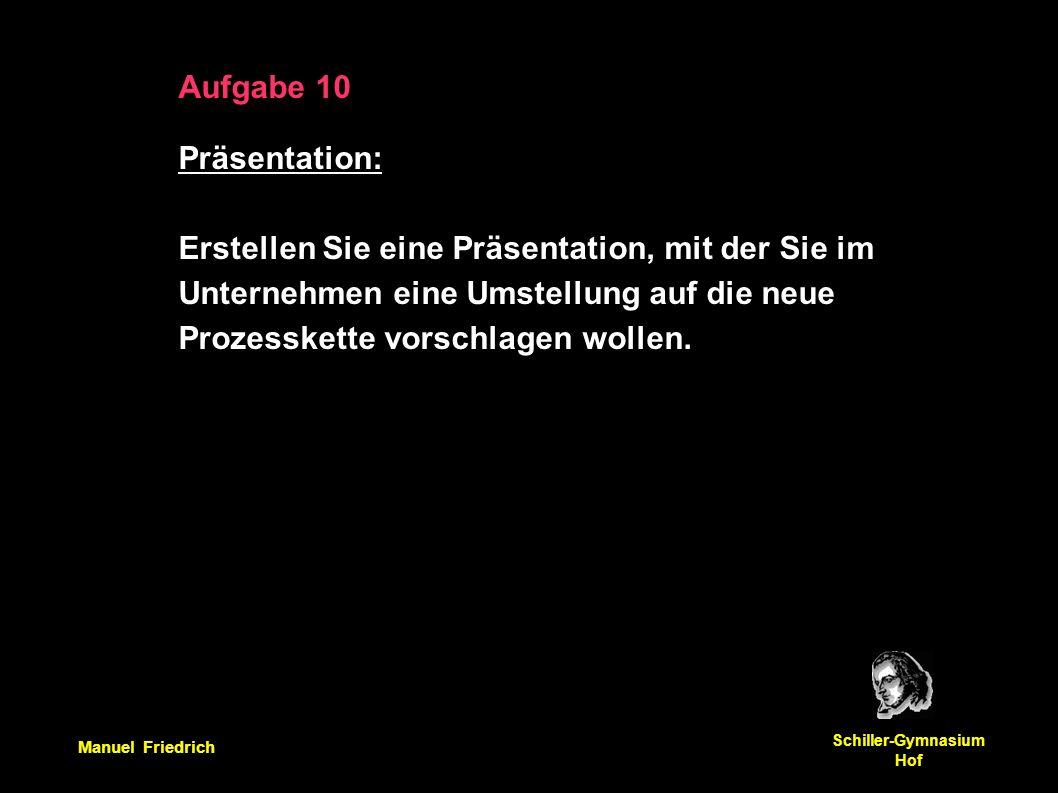 Manuel Friedrich Schiller-Gymnasium Hof Aufgabe 10 Präsentation: Erstellen Sie eine Präsentation, mit der Sie im Unternehmen eine Umstellung auf die neue Prozesskette vorschlagen wollen.