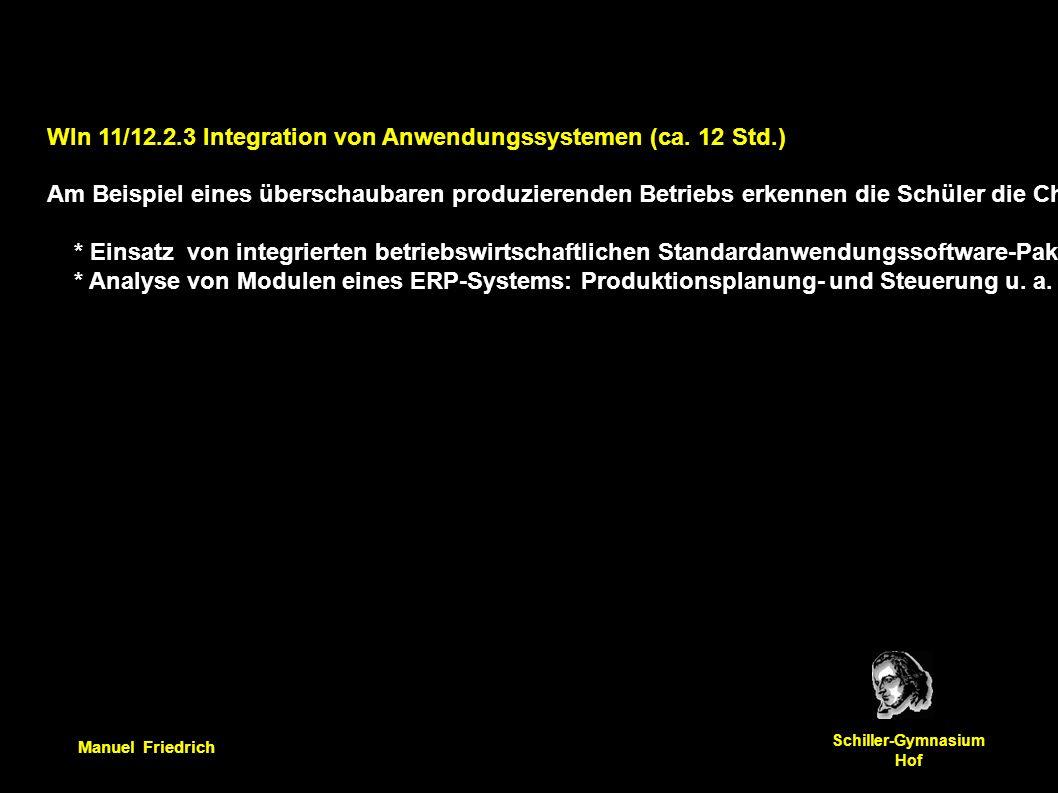 Manuel Friedrich Schiller-Gymnasium Hof WIn 11/12.2.3 Integration von Anwendungssystemen (ca. 12 Std.) Am Beispiel eines überschaubaren produzierenden