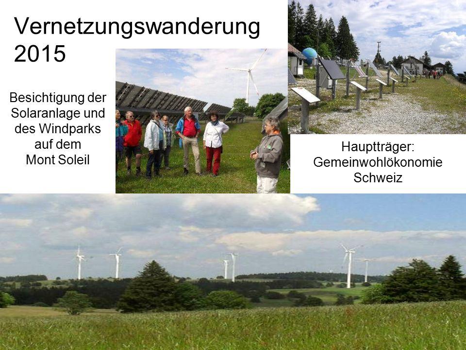 Vernetzungswanderung 2015 Besichtigung der Solaranlage und des Windparks auf dem Mont Soleil Hauptträger: Gemeinwohlökonomie Schweiz