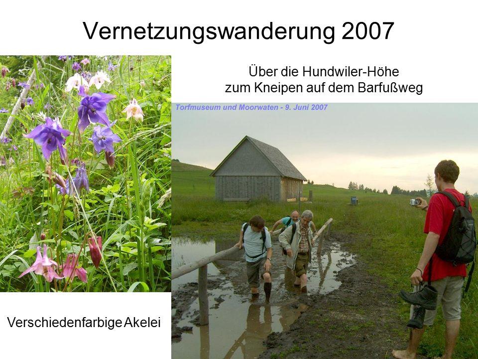 Über die Hundwiler-Höhe zum Kneipen auf dem Barfußweg Vernetzungswanderung 2007 Verschiedenfarbige Akelei