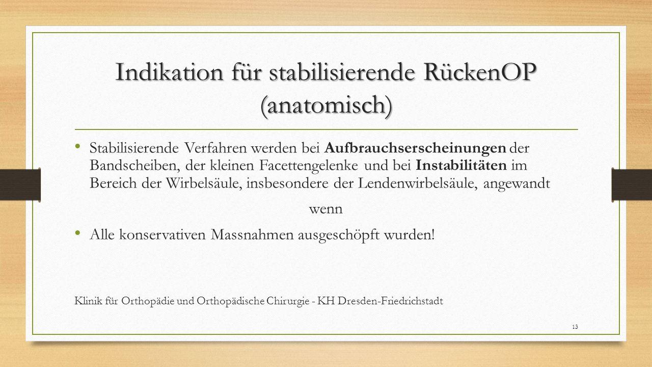 Indikation für stabilisierende RückenOP (anatomisch) Stabilisierende Verfahren werden bei Aufbrauchserscheinungen der Bandscheiben, der kleinen Facett