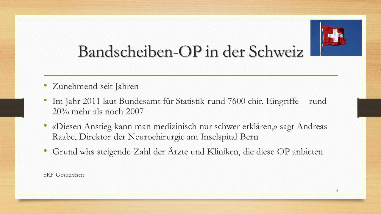 Bandscheiben-OP in der Schweiz Zunehmend seit Jahren Im Jahr 2011 laut Bundesamt für Statistik rund 7600 chir. Eingriffe – rund 20% mehr als noch 2007