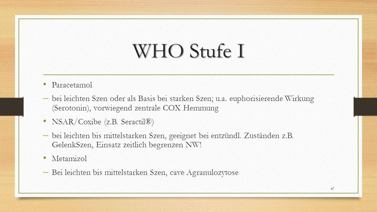 WHO Stufe I Paracetamol  bei leichten Szen oder als Basis bei starken Szen; u.a.
