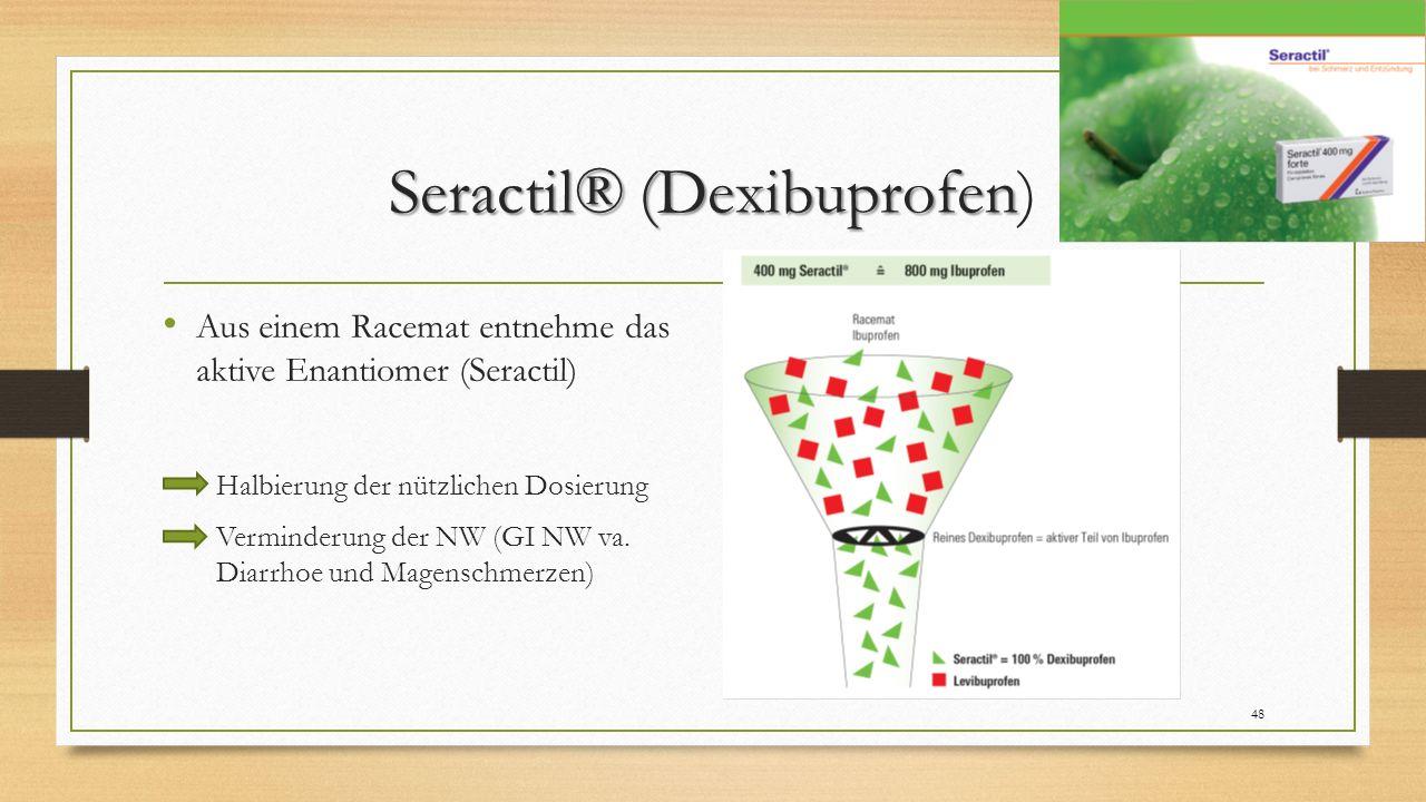 Seractil® (Dexibuprofen Seractil® (Dexibuprofen) Aus einem Racemat entnehme das aktive Enantiomer (Seractil) Halbierung der nützlichen Dosierung Verminderung der NW (GI NW va.