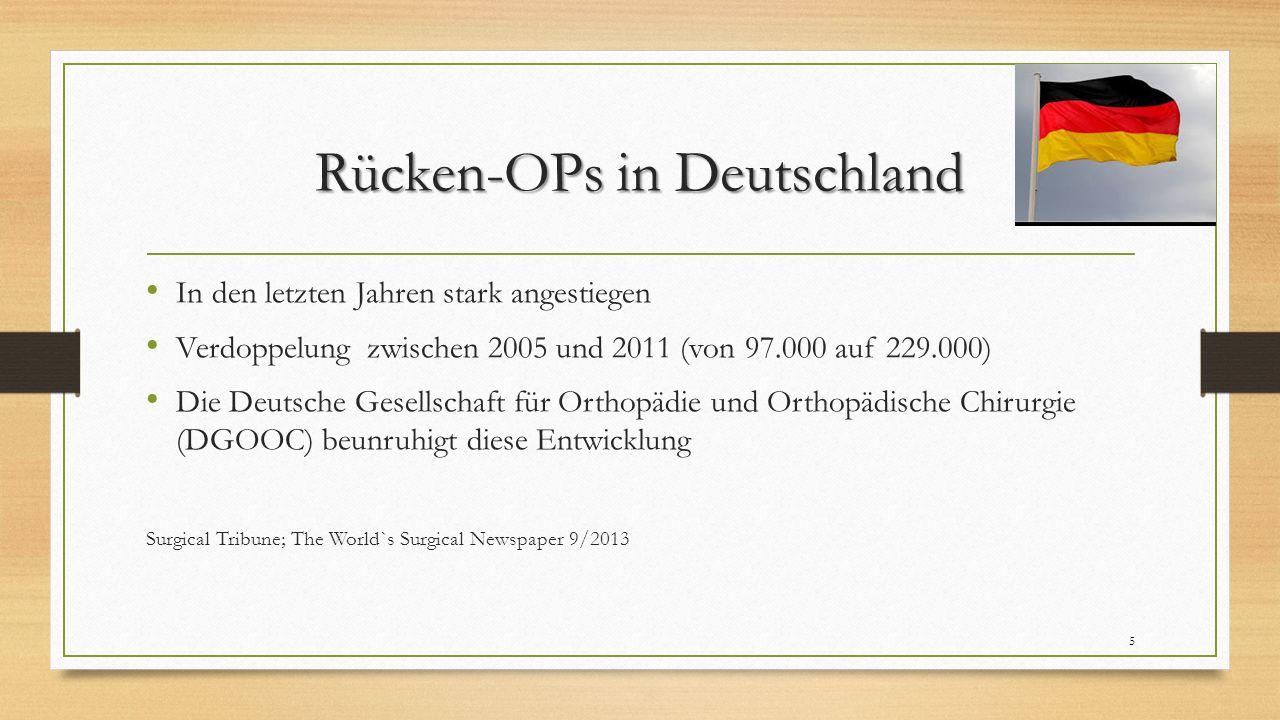 Rücken-OPs in Deutschland In den letzten Jahren stark angestiegen Verdoppelung zwischen 2005 und 2011 (von 97.000 auf 229.000) Die Deutsche Gesellschaft für Orthopädie und Orthopädische Chirurgie (DGOOC) beunruhigt diese Entwicklung Surgical Tribune; The World`s Surgical Newspaper 9/2013 5