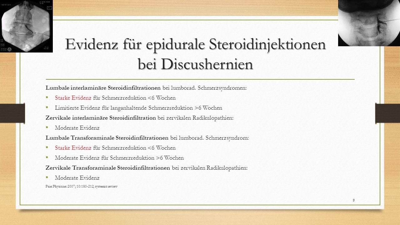 Evidenz für epidurale Steroidinjektionen bei Discushernien Lumbale interlaminäre Steroidinfiltrationen bei lumborad. Schmerzsyndromen: Starke Evidenz