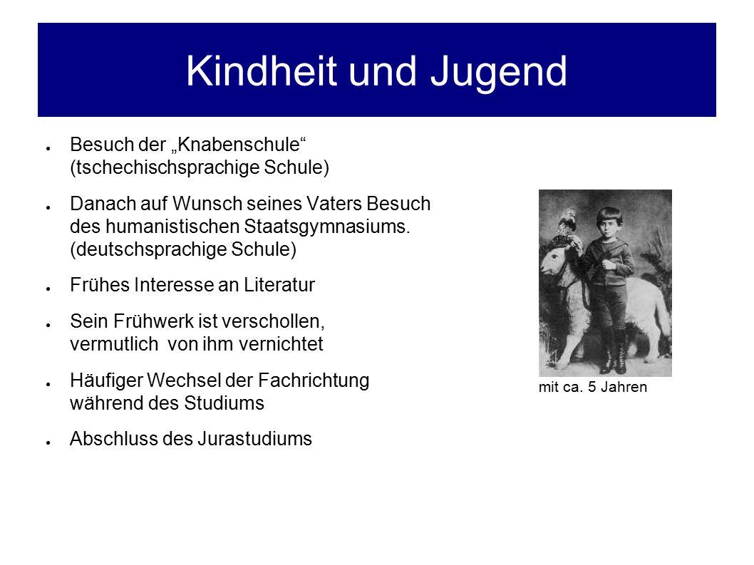 """Kindheit und Jugend ● Besuch der """"Knabenschule (tschechischsprachige Schule) ● Danach auf Wunsch seines Vaters Besuch des humanistischen Staatsgymnasiums."""